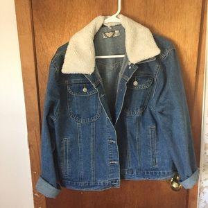 Boohoo denim jacket with detachable Sherpa trim